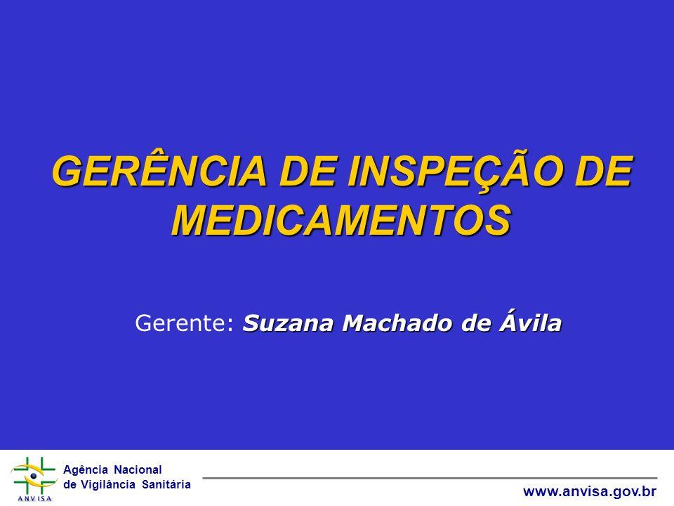 Agência Nacional de Vigilância Sanitária www.anvisa.gov.br GERÊNCIA DE INSPEÇÃO DE MEDICAMENTOS Suzana Machado de Ávila Gerente: Suzana Machado de Ávi