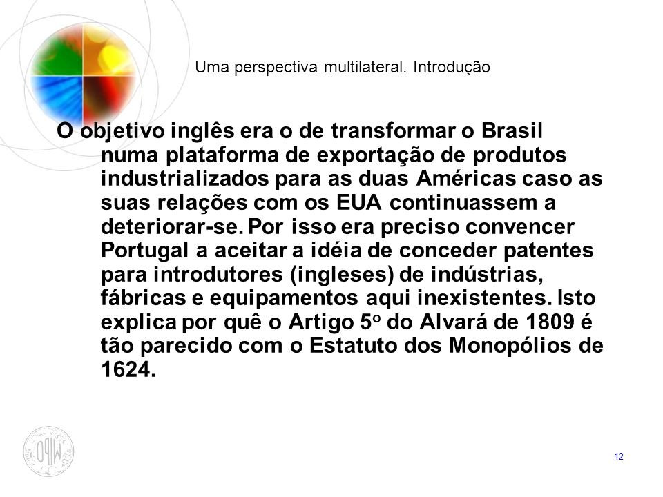 12 Uma perspectiva multilateral. Introdução O objetivo inglês era o de transformar o Brasil numa plataforma de exportação de produtos industrializados