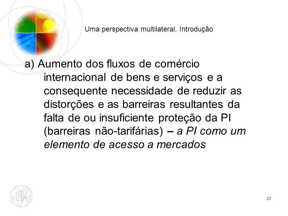 23 Uma perspectiva multilateral. Introdução a) Aumento dos fluxos de comércio internacional de bens e serviços e a consequente necessidade de reduzir