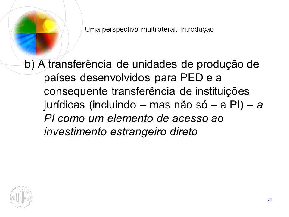 24 Uma perspectiva multilateral. Introdução b) A transferência de unidades de produção de países desenvolvidos para PED e a consequente transferência