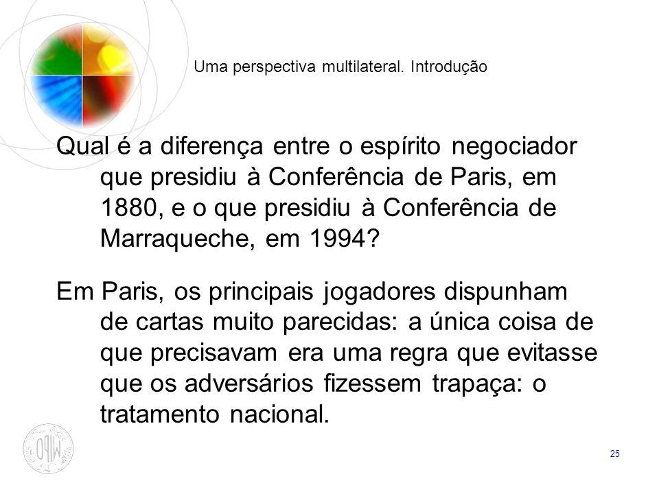 25 Uma perspectiva multilateral. Introdução Qual é a diferença entre o espírito negociador que presidiu à Conferência de Paris, em 1880, e o que presi