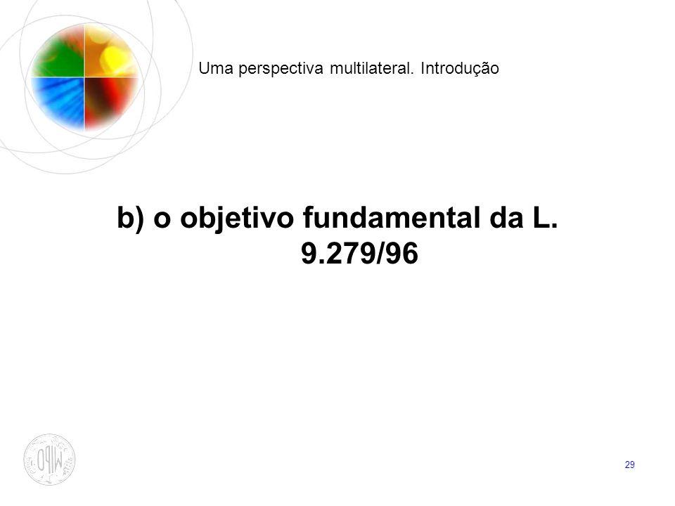 29 Uma perspectiva multilateral. Introdução b) o objetivo fundamental da L. 9.279/96