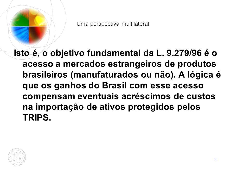 32 Uma perspectiva multilateral Isto é, o objetivo fundamental da L. 9.279/96 é o acesso a mercados estrangeiros de produtos brasileiros (manufaturado