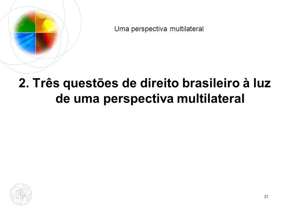 33 Uma perspectiva multilateral 2. Três questões de direito brasileiro à luz de uma perspectiva multilateral