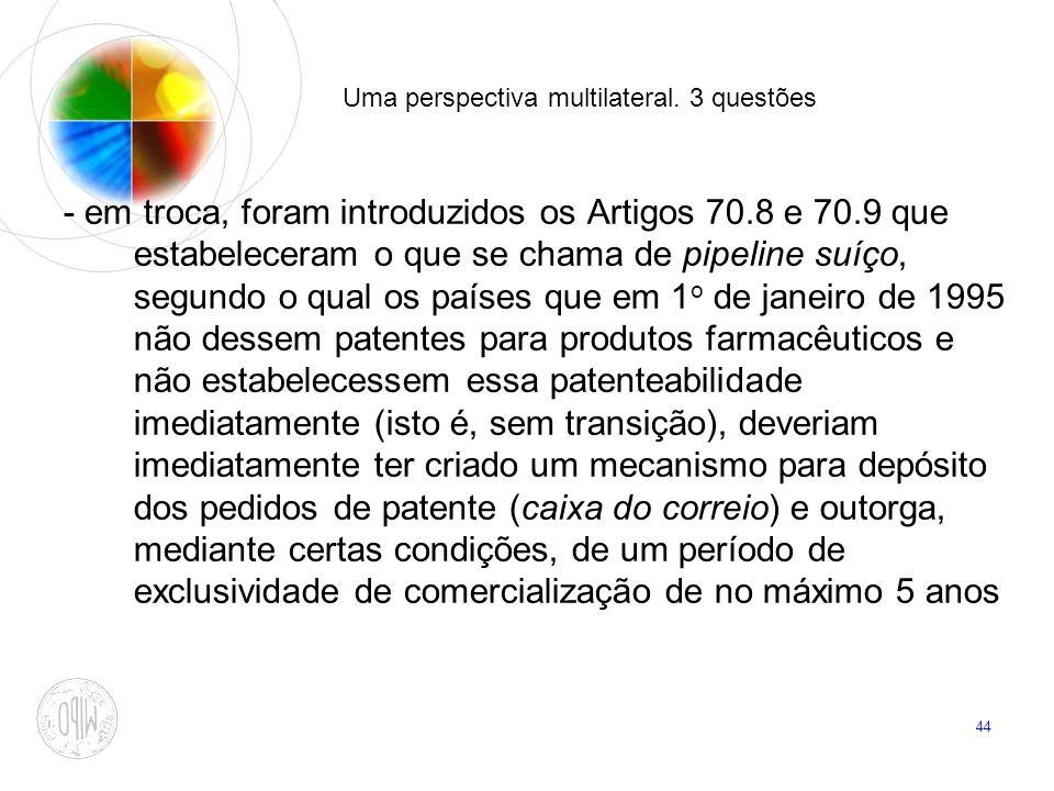 44 Uma perspectiva multilateral. 3 questões - em troca, foram introduzidos os Artigos 70.8 e 70.9 que estabeleceram o que se chama de pipeline suíço,