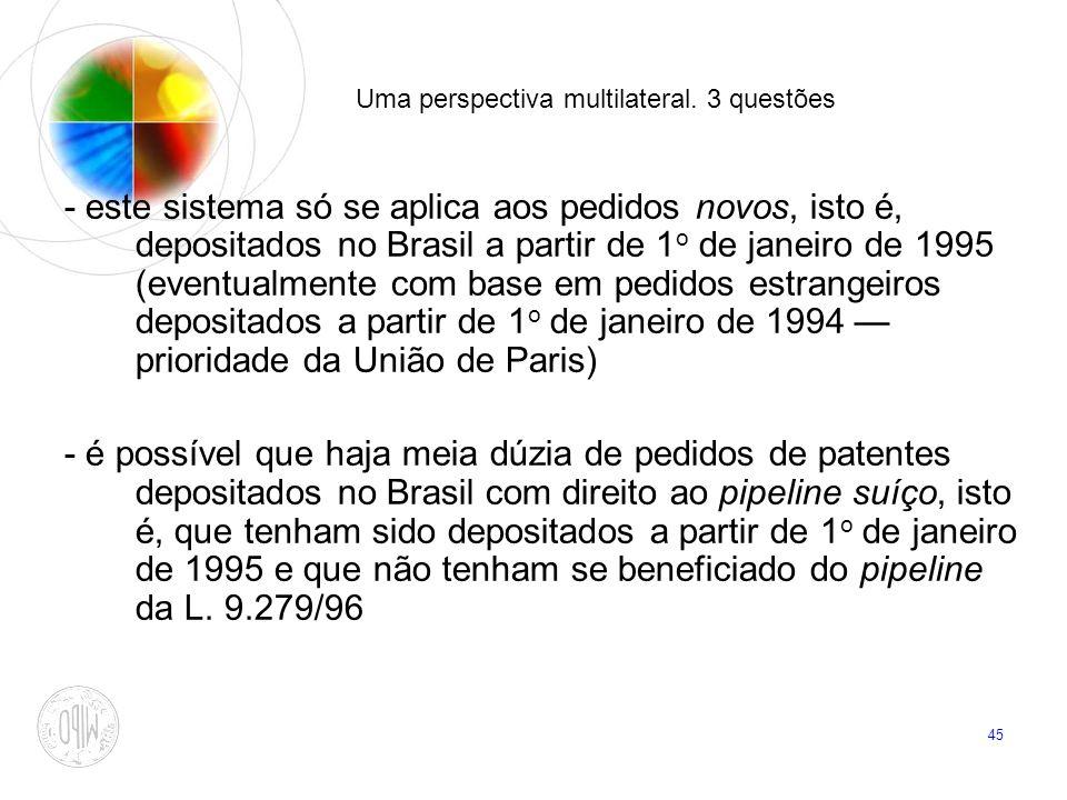 45 Uma perspectiva multilateral. 3 questões - este sistema só se aplica aos pedidos novos, isto é, depositados no Brasil a partir de 1 o de janeiro de