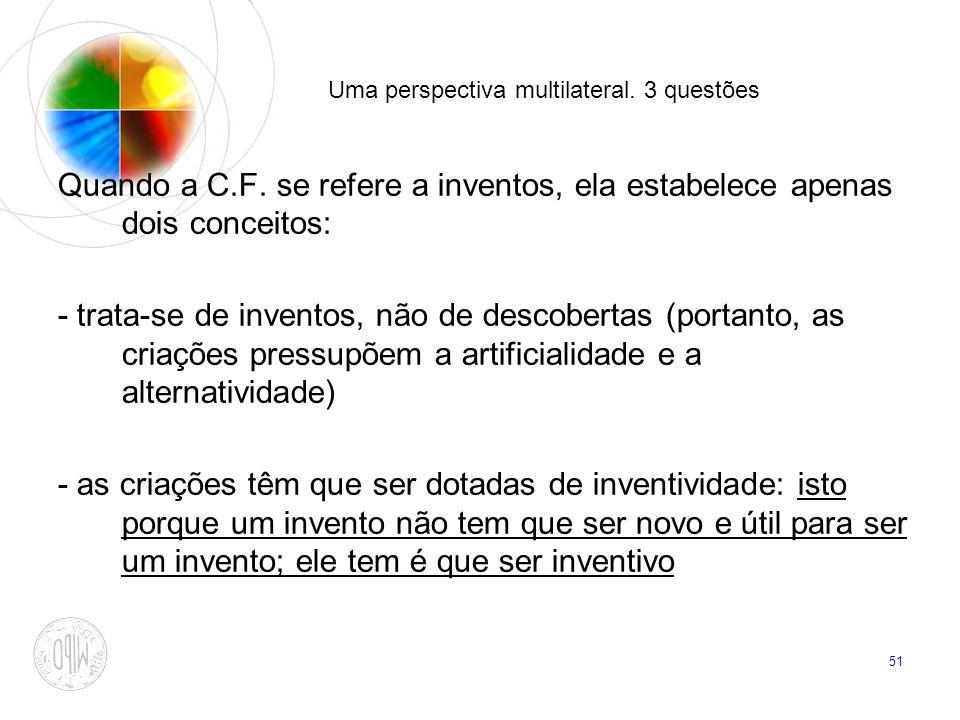 51 Uma perspectiva multilateral. 3 questões Quando a C.F. se refere a inventos, ela estabelece apenas dois conceitos: - trata-se de inventos, não de d