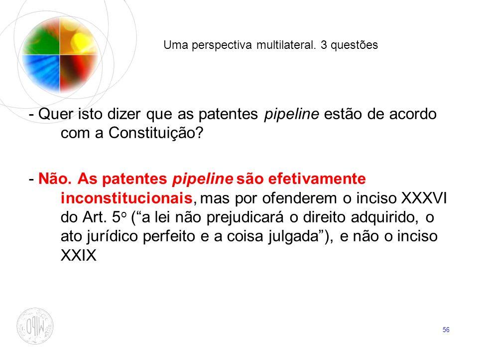 56 Uma perspectiva multilateral. 3 questões - Quer isto dizer que as patentes pipeline estão de acordo com a Constituição? - Não. As patentes pipeline