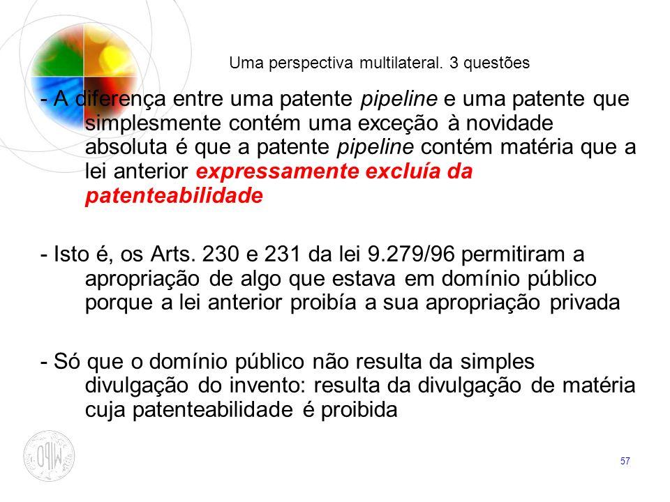 57 Uma perspectiva multilateral. 3 questões - A diferença entre uma patente pipeline e uma patente que simplesmente contém uma exceção à novidade abso