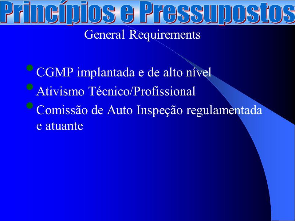 General Requirements CGMP implantada e de alto nível Ativismo Técnico/Profissional Comissão de Auto Inspeção regulamentada e atuante