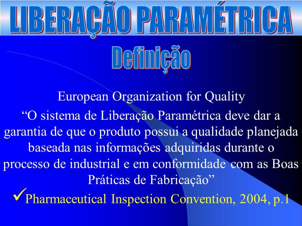 European Organization for Quality O sistema de Liberação Paramétrica deve dar a garantia de que o produto possui a qualidade planejada baseada nas informações adquiridas durante o processo de industrial e em conformidade com as Boas Práticas de Fabricação Pharmaceutical Inspection Convention, 2004, p.1