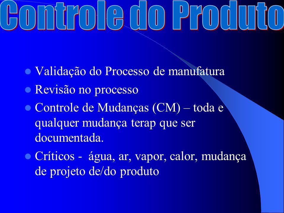 Validação do Processo de manufatura Revisão no processo Controle de Mudanças (CM) – toda e qualquer mudança terap que ser documentada.