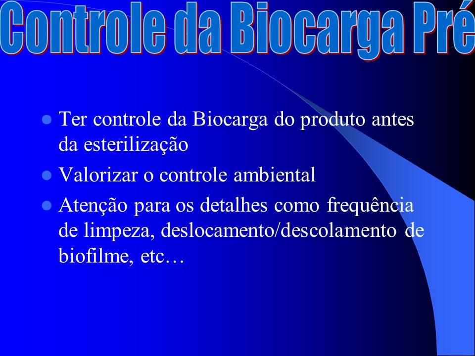 Ter controle da Biocarga do produto antes da esterilização Valorizar o controle ambiental Atenção para os detalhes como frequência de limpeza, deslocamento/descolamento de biofilme, etc…