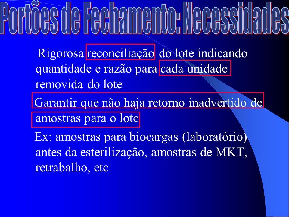 Rigorosa reconciliação do lote indicando quantidade e razão para cada unidade removida do lote Garantir que não haja retorno inadvertido de amostras para o lote Ex: amostras para biocargas (laboratório) antes da esterilização, amostras de MKT, retrabalho, etc