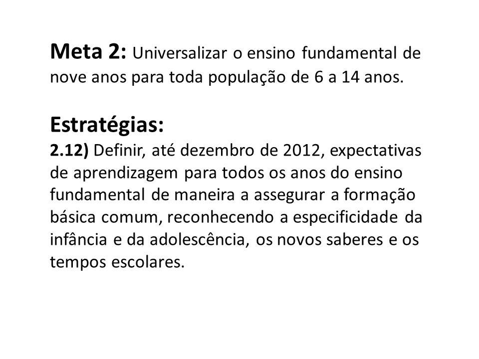 Meta 2: Universalizar o ensino fundamental de nove anos para toda população de 6 a 14 anos. Estratégias: 2.12) Definir, até dezembro de 2012, expectat