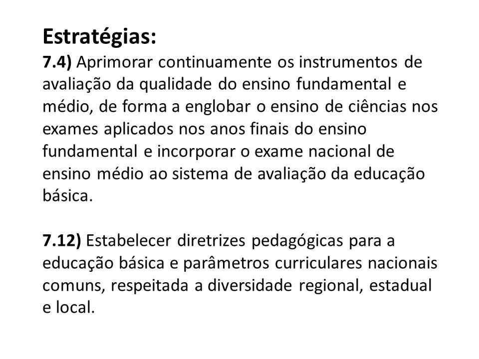 Estratégias: 7.4) Aprimorar continuamente os instrumentos de avaliação da qualidade do ensino fundamental e médio, de forma a englobar o ensino de ciê