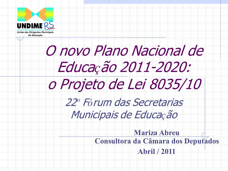 O novo Plano Nacional de Educa ç ão 2011-2020: o Projeto de Lei 8035/10 22 º F ó rum das Secretarias Municipais de Educa ç ão Mariza Abreu Consultora da Câmara dos Deputados Abril / 2011