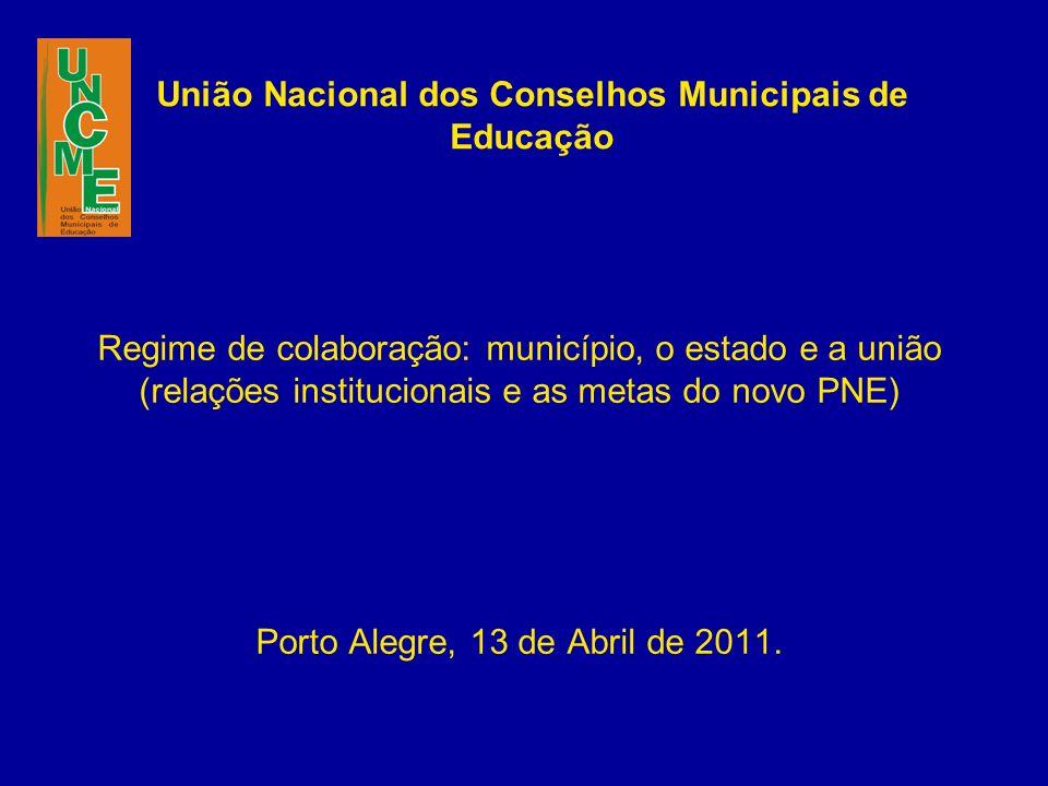 União Nacional dos Conselhos Municipais de Educação Regime de colaboração: município, o estado e a união (relações institucionais e as metas do novo PNE) Porto Alegre, 13 de Abril de 2011.