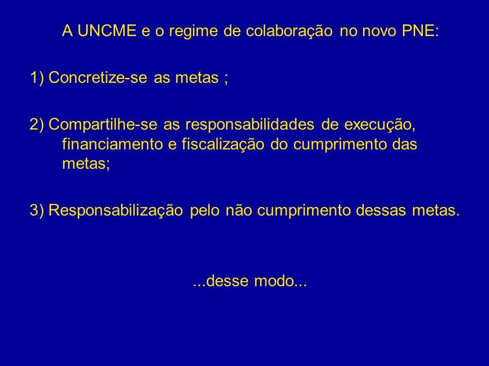 A UNCME e o regime de colaboração no novo PNE: 1) Concretize-se as metas ; 2) Compartilhe-se as responsabilidades de execução, financiamento e fiscali