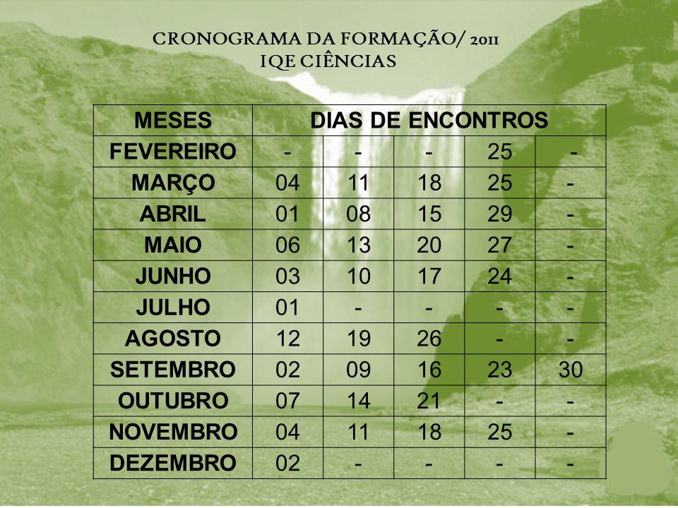 MESESDIAS DE ENCONTROS FEVEREIRO---25 - MARÇO04111825- ABRIL01081529- MAIO06132027- JUNHO03101724- JULHO01---- AGOSTO121926-- SETEMBRO0209162330 OUTUBRO071421-- NOVEMBRO04111825- DEZEMBRO02---- CRONOGRAMA DA FORMAÇÃO/ 2011 IQE CIÊNCIAS