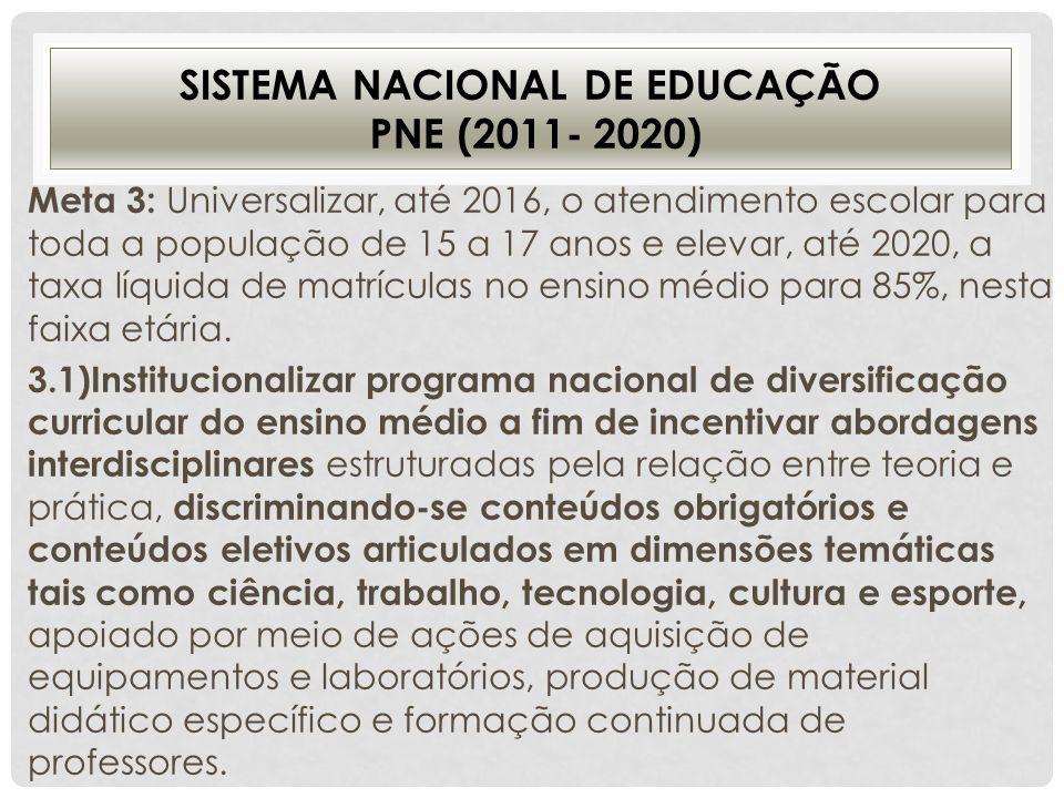 SISTEMA NACIONAL DE EDUCAÇÃO PNE (2011- 2020) Meta 3: Universalizar, até 2016, o atendimento escolar para toda a população de 15 a 17 anos e elevar, a