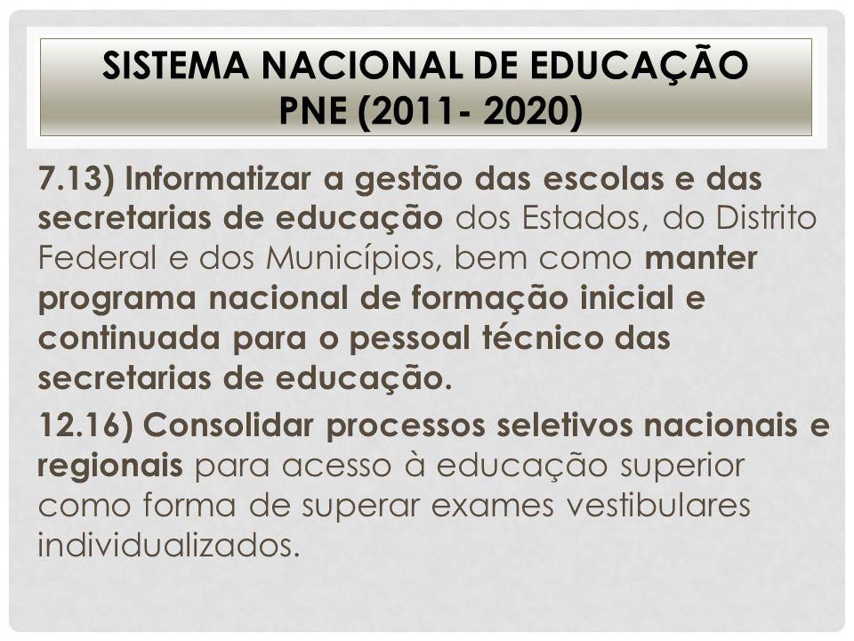 SISTEMA NACIONAL DE EDUCAÇÃO PNE (2011- 2020) 7.13) Informatizar a gestão das escolas e das secretarias de educação dos Estados, do Distrito Federal e