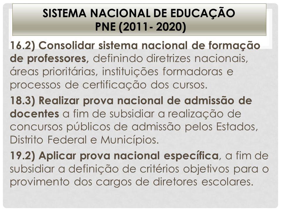 SISTEMA NACIONAL DE EDUCAÇÃO PNE (2011- 2020) 16.2) Consolidar sistema nacional de formação de professores, definindo diretrizes nacionais, áreas prio