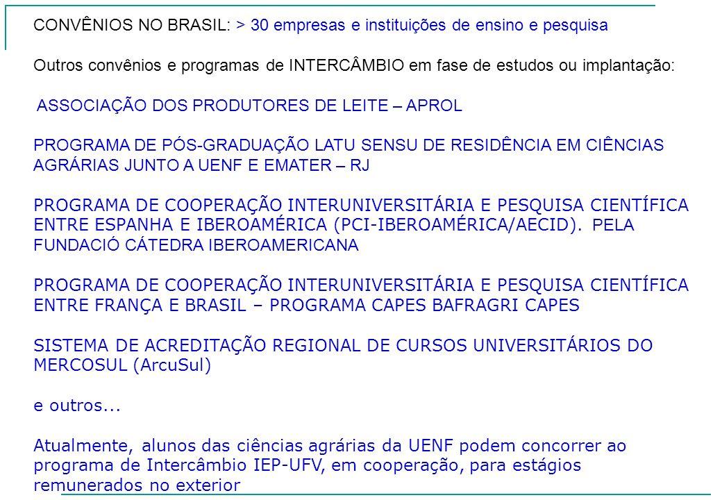 CONVÊNIOS NO BRASIL: > 30 empresas e instituições de ensino e pesquisa Outros convênios e programas de INTERCÂMBIO em fase de estudos ou implantação: