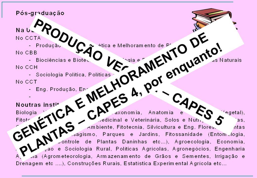 PRODUÇÃO VEGETAL – CAPES 5 GENÉTICA E MELHORAMENTO DE PLANTAS – CAPES 4, por enquanto!