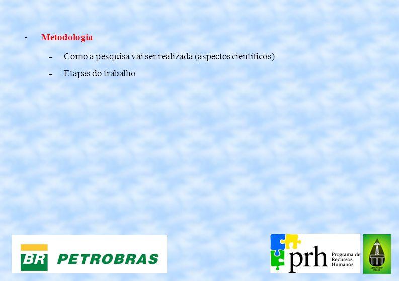 Metodologia Como a pesquisa vai ser realizada (aspectos científicos) Etapas do trabalho