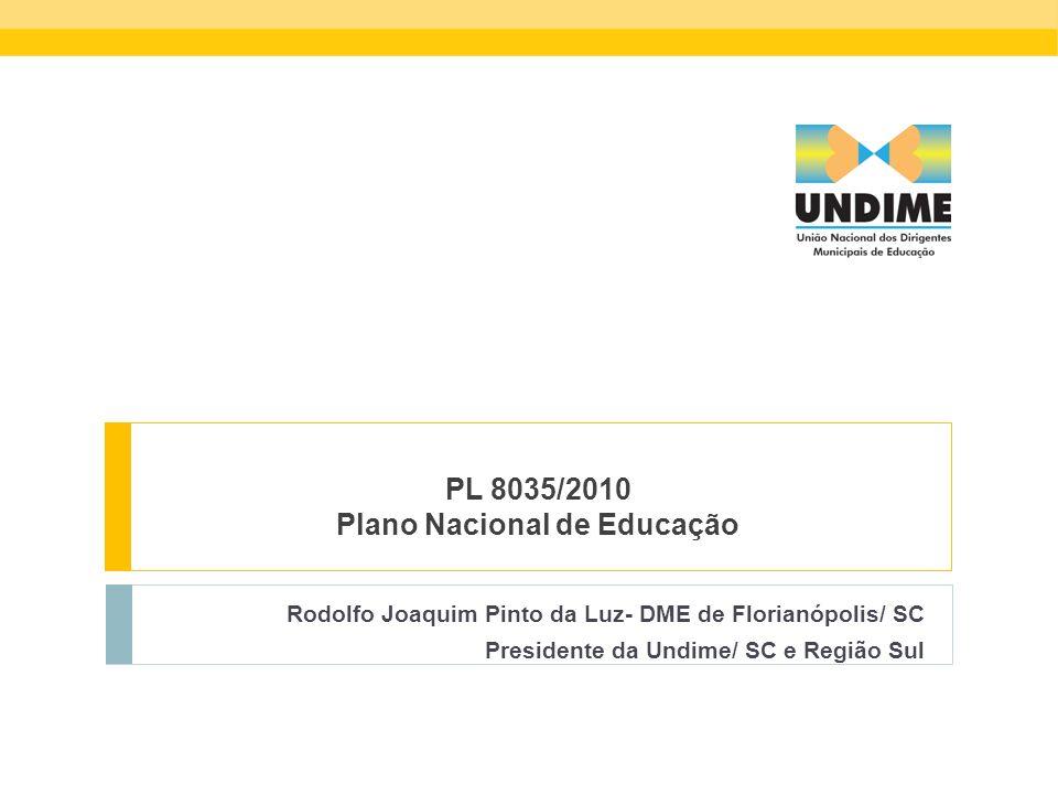 PL 8035/2010 Plano Nacional de Educação Rodolfo Joaquim Pinto da Luz- DME de Florianópolis/ SC Presidente da Undime/ SC e Região Sul