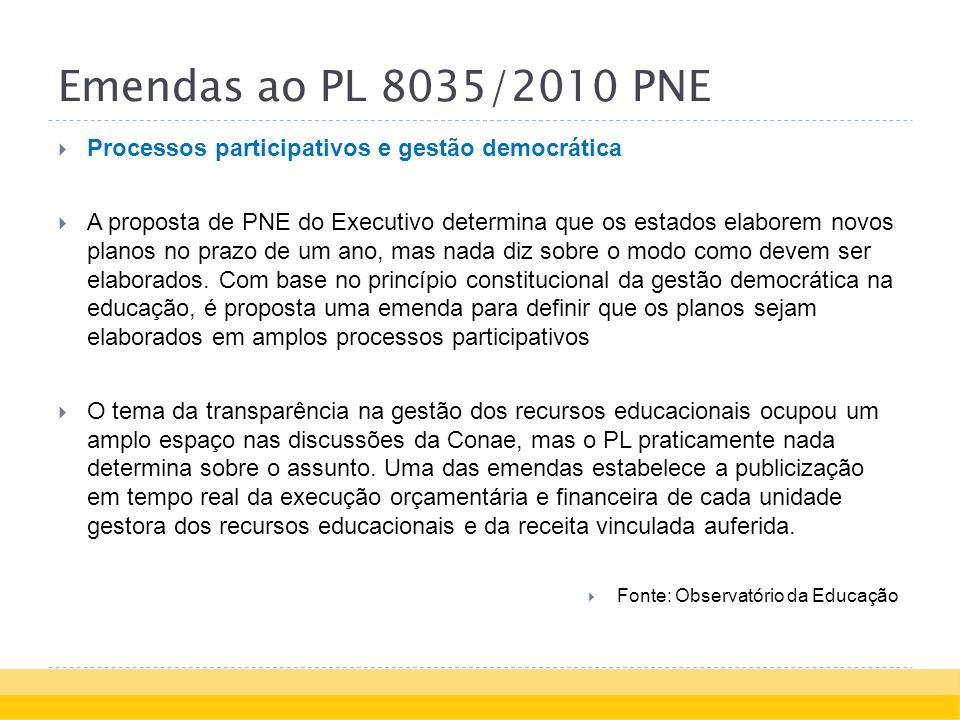 Emendas ao PL 8035/2010 PNE Processos participativos e gestão democrática A proposta de PNE do Executivo determina que os estados elaborem novos planos no prazo de um ano, mas nada diz sobre o modo como devem ser elaborados.