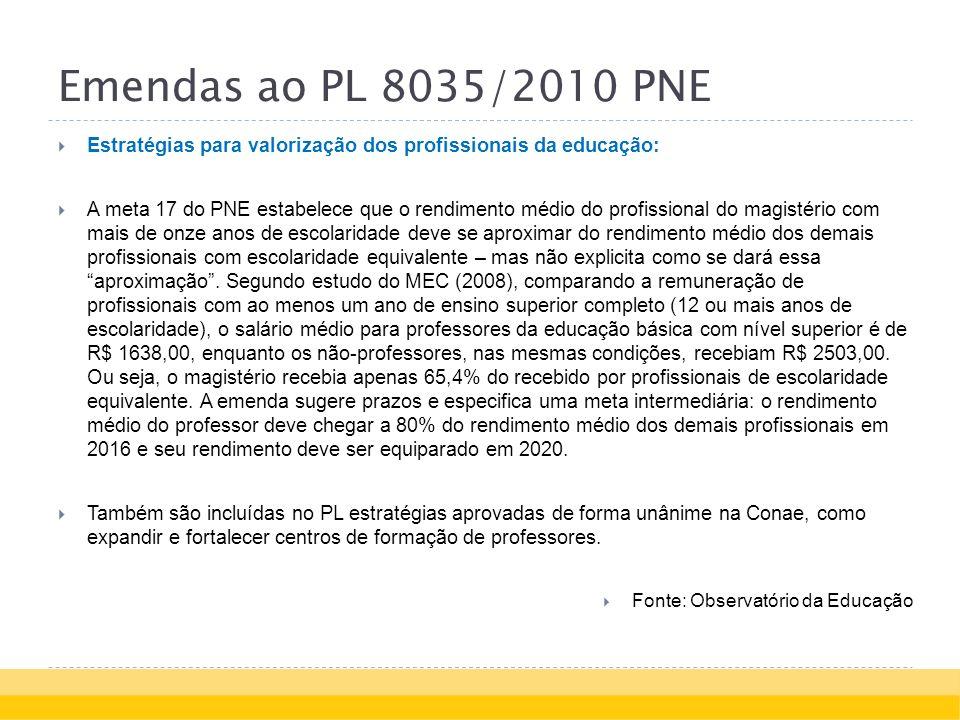 Emendas ao PL 8035/2010 PNE Estratégias para valorização dos profissionais da educação: A meta 17 do PNE estabelece que o rendimento médio do profissional do magistério com mais de onze anos de escolaridade deve se aproximar do rendimento médio dos demais profissionais com escolaridade equivalente – mas não explicita como se dará essa aproximação.
