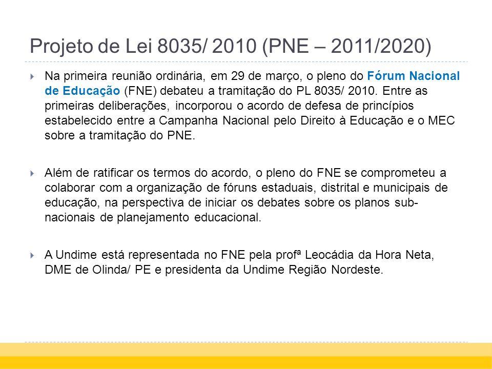 Projeto de Lei 8035/ 2010 (PNE – 2011/2020) Na primeira reunião ordinária, em 29 de março, o pleno do Fórum Nacional de Educação (FNE) debateu a tramitação do PL 8035/ 2010.