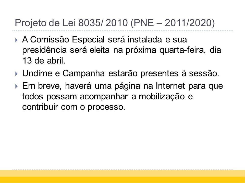 Projeto de Lei 8035/ 2010 (PNE – 2011/2020) A Comissão Especial será instalada e sua presidência será eleita na próxima quarta-feira, dia 13 de abril.