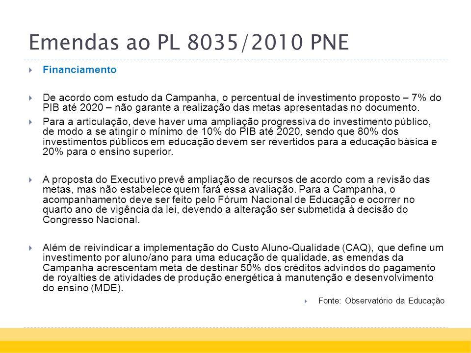 Emendas ao PL 8035/2010 PNE Financiamento De acordo com estudo da Campanha, o percentual de investimento proposto – 7% do PIB até 2020 – não garante a realização das metas apresentadas no documento.