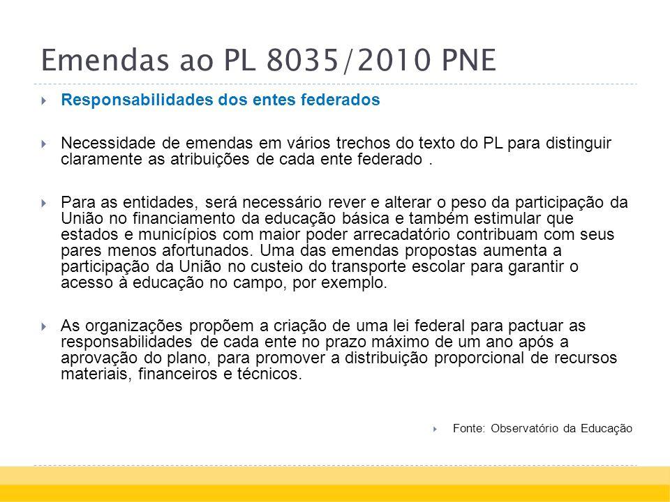 Emendas ao PL 8035/2010 PNE Responsabilidades dos entes federados Necessidade de emendas em vários trechos do texto do PL para distinguir claramente as atribuições de cada ente federado.
