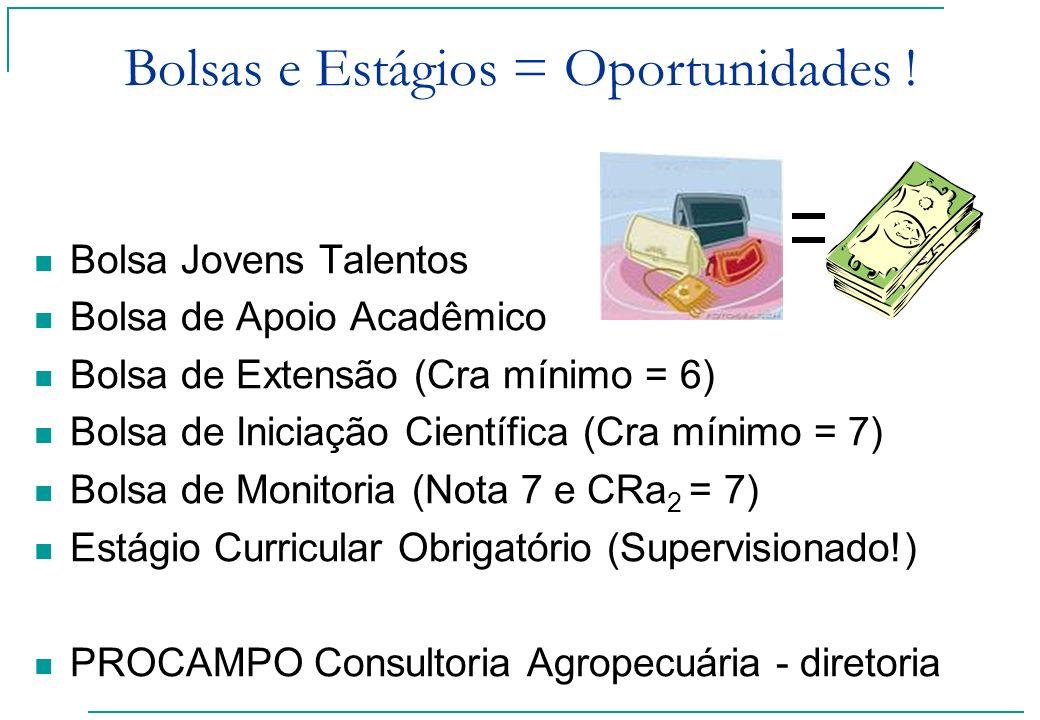 Bolsas e Estágios = Oportunidades ! Bolsa Jovens Talentos Bolsa de Apoio Acadêmico Bolsa de Extensão (Cra mínimo = 6) Bolsa de Iniciação Científica (C