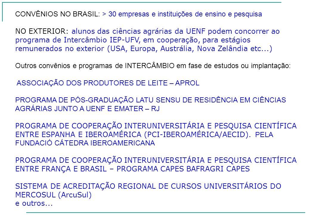 CONVÊNIOS NO BRASIL: > 30 empresas e instituições de ensino e pesquisa NO EXTERIOR: alunos das ciências agrárias da UENF podem concorrer ao programa d