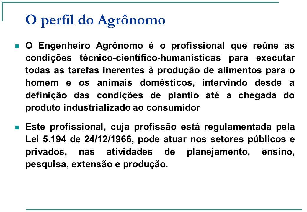 O perfil do Agrônomo O Engenheiro Agrônomo é o profissional que reúne as condições técnico-científico-humanísticas para executar todas as tarefas iner