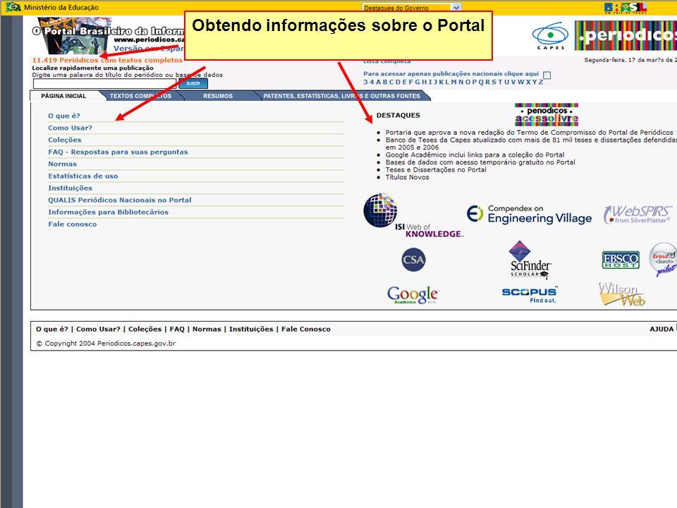 Obtendo informações sobre o Portal