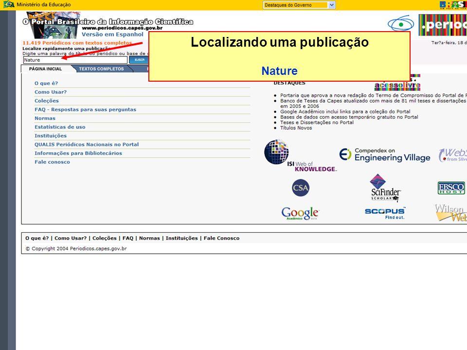 Localizando uma publicação Nature