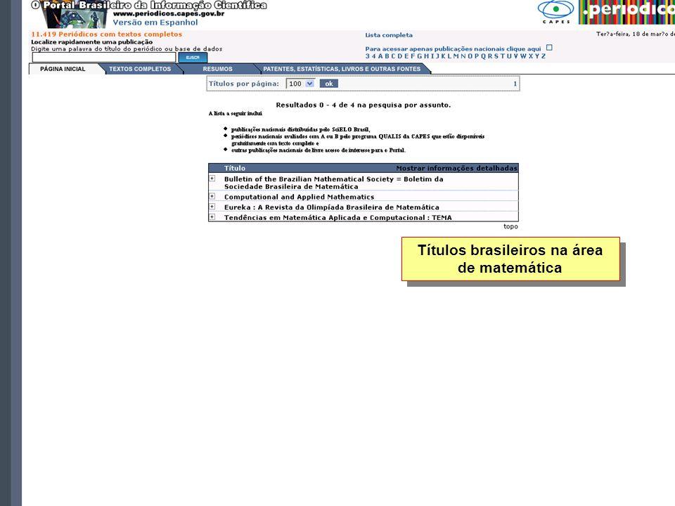 Títulos brasileiros na área de matemática