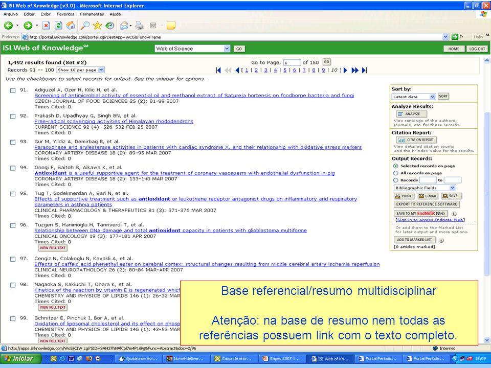 Base referencial/resumo multidisciplinar Atenção: na base de resumo nem todas as referências possuem link com o texto completo.