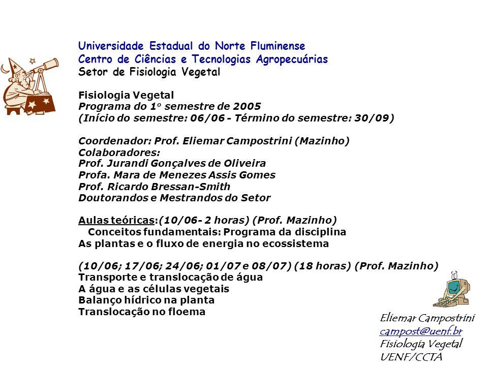 Primeira Prova: 20/07 – Quarta-feira – 18:00 (CCTA) (75% parte teórica, 15% parte prática, 10% presença em aulas práticas) Bioquímica e Metabolismo das Plantas (15/07; 22/07; 29/07; 05/08; 12/08) (20 horas) (Professores Jurandi e Ricardo) Fotossíntese: as reações fotoquímicas Fotossíntese: as reações bioquímicas Fotossíntese: considerações ecofisiológicas Metabolismo respiratório Aquisição e assimilação do nitrogênio Segunda Prova: 17/08 – Quarta-feira – 18:00 (CCTA) Crescimento e Desenvolvimento das Plantas (19/08; 26/08; 02/09; 09/09; 16/09)(18 horas) (Profa.