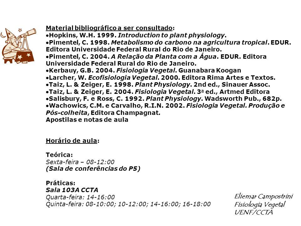 Material bibliográfico a ser consultado: Hopkins, W.H. 1999. Introduction to plant physiology. Pimentel, C. 1998. Metabolismo do carbono na agricultur