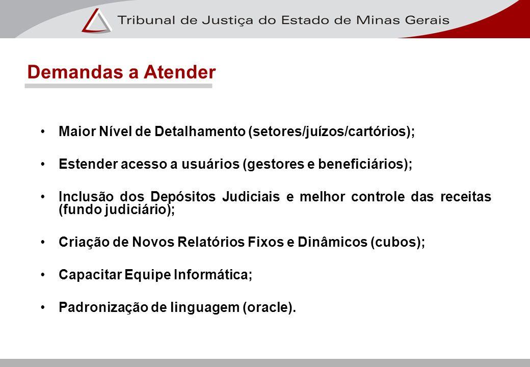 Demandas a Atender Maior Nível de Detalhamento (setores/juízos/cartórios); Estender acesso a usuários (gestores e beneficiários); Inclusão dos Depósit