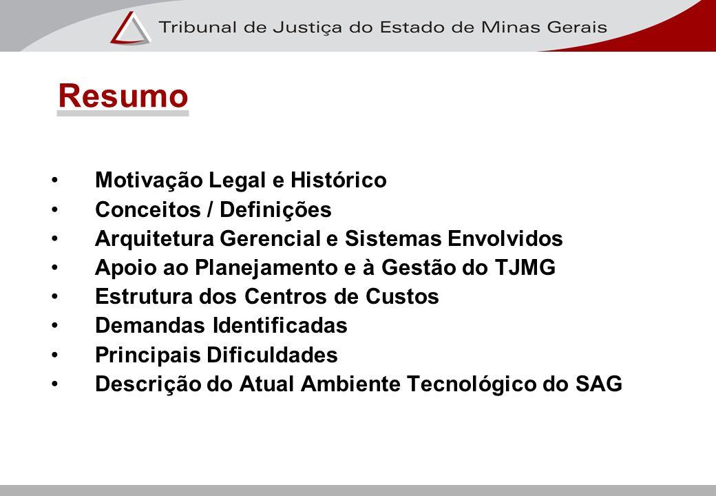 Motivação Legal e Histórico Conceitos / Definições Arquitetura Gerencial e Sistemas Envolvidos Apoio ao Planejamento e à Gestão do TJMG Estrutura dos