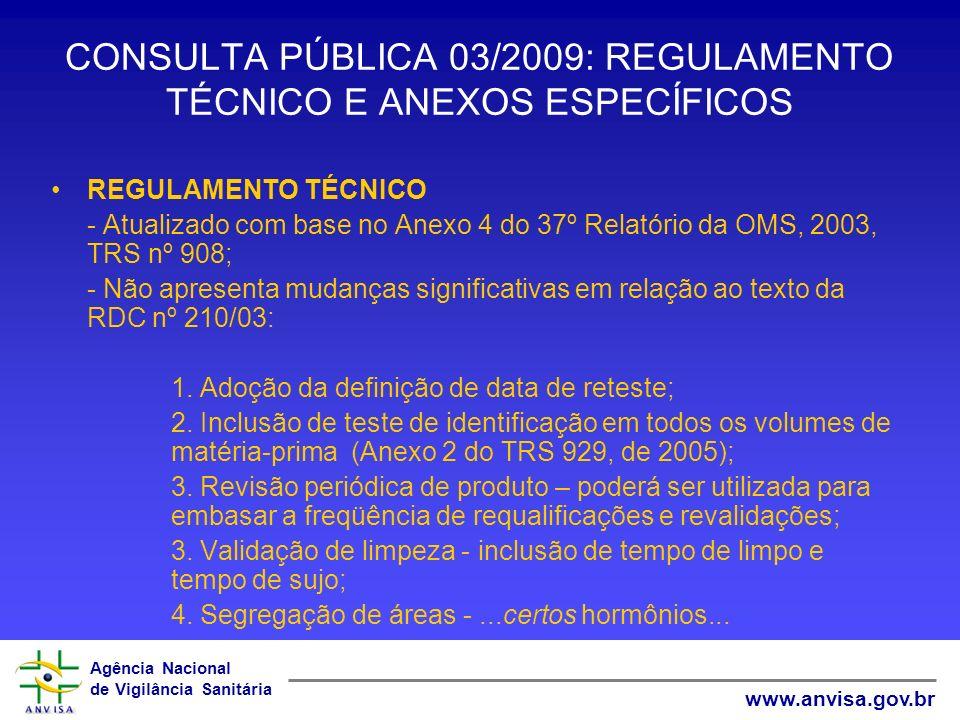 Agência Nacional de Vigilância Sanitária www.anvisa.gov.br CONSULTA PÚBLICA 03/2009: REGULAMENTO TÉCNICO E ANEXOS ESPECÍFICOS REGULAMENTO TÉCNICO - At