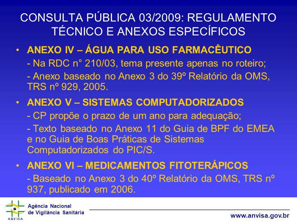 Agência Nacional de Vigilância Sanitária www.anvisa.gov.br CONSULTA PÚBLICA 03/2009: REGULAMENTO TÉCNICO E ANEXOS ESPECÍFICOS ANEXO IV – ÁGUA PARA USO